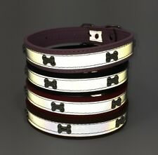 ADJUSTABLE DOG BONE COLLAR STRIPE REFLECTIVE LEATHER MEDIUM LARGE 1""