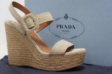 PRADA PONICE BEIGE SUEDE LEATHER WEDGE SANDALS SHOES 38.5/8.5 $850