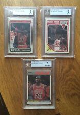 1987-88 Fleer Michael Jordan Beckett Lot 1987 1988 1989 BGS 7, 8, 8