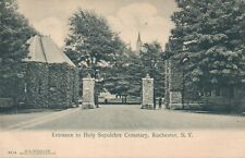 Vintage Rochester NY Entrance to Holy Sepulchre Cemetery Printed Postcard