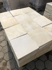 Terrassenplatten Marmor  Gelb  30x30cm Kanten Getrommelt 1qm