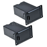 2 Pcs Black Square Guitar Bass Active Pickup 9v Battery Holder/Cover/Case Deep