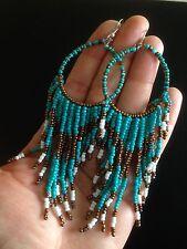 Earrings Big Long Hoop Tassel Beaded Hippie Bohemian Boho Tribal Gypsy A1101