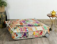 "35"" Indian Floor Cushion Square Cover Patchwork Pillow Pouf Meditation Ottoman"