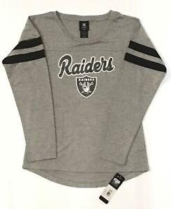Las Vegas Raiders NFL / Long Stripe Sleeve Gray Team Logo T-Shirt / Girls L 14