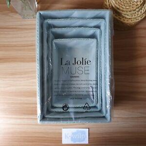 La Jolíe Muse -Turquoise Storage Baskets Set 4 - Stackable Woven Box Baskets