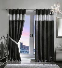 Pair Luxury Heavy Velvet Style Diamante Diamond Blackout Thermal Eyelet Curtains