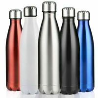 Stainless Steel Water Bottle Insulated Metal Sport & Gym Drinks Flask 350-1000ML