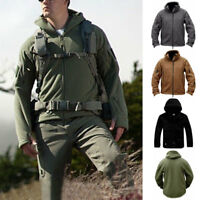 Tactical Military Fleece Men Hooded Jacket Coat Casual Zipper Hoodies Outwear