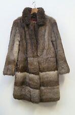 60s 70s Vintage Natural Real Rabbit Fur Long Knee Length Coat UK 8 10 S M
