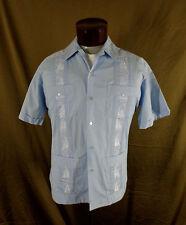 Vintage Men's Blue Guayabera Rockabilly Cigar Lounge Wedding Shirt Large