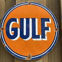 "VINTAGE GULF GASOLINE PORCELAIN METAL SIGN LUBE 12"" OIL & GAS STATION PETROLIANA"