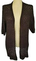 Chicos Brown Long Tunic Short Sleeve Open Knit Duster Cardigan Sweater Size 3 XL