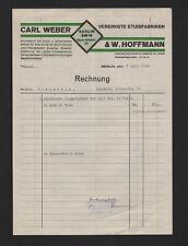 Berlino, 1940 fattura, Carl Weber & W. Hoffmann ASTUCCI-fabbrica ORO-ARGENTO-erano