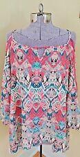 HEART SOUL Boho Cold Shoulder Floral Print Blouse Tunic Sz 2X