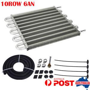 Universal 10Row 6AN Engine Transmission Oil Cooler Manual Radiator Converter Kit