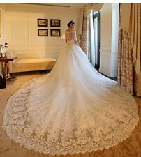 Princes Beaded Wedding Dress Lace 3/4 Sleeve V-Neck Cathedral train Bridal Gowns