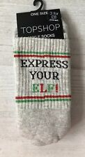Ladies/Girls Grey Christmas Express Your Elf Sporty Tube Cotton Ankle Socks