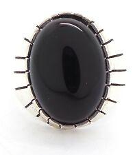 Navajo Handmade Sterling Silver Black Onyx Ring Size 11 - Ray Jack