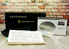 Vintage Universal 8 Transistor Radio w Case Strap Instructions & Box Japan Works