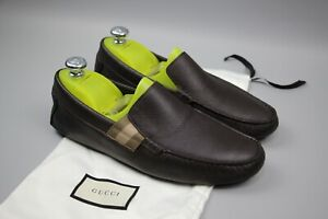 Gucci Men's Chocolate Brown Leather With Trademark DRIVER MOCCASIN Loafers Sz 42