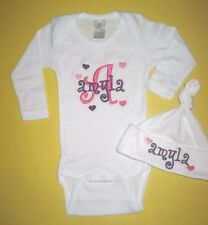 Personalized Baby HEARTS Monogram CREEPER One Piece Romper T Shirt & HAT SET