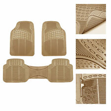 Universal Floor Mats for Car All Weather Heavy Duty 3pc Rubber Set Beige