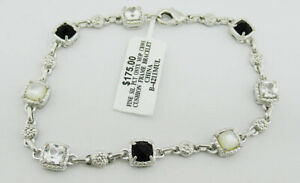 GENUINE ONYX, WHITE SAPPHIRE & MOTHER PEARL BRACELET SILVER PLATED * NWT