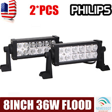 2x 8Inch 36W Led Work Light Bar Flood Beam Driving Offroad Lamp 4Wd Atv Philips