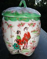 Antique Japanese Porcelain Hand Painted Biscuit Jar Geisha Girls Japan - Lovely!