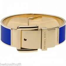 NEW-MICHAEL KORS GOLD TONE WIDE BLUE ENAMEL HINGE BELT BUCKLE BANGLE BRACELET