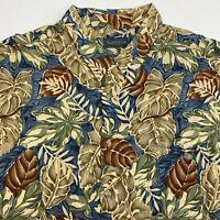 Van Heusen Button Up Shirt Men's 2XL XXL Short Sleeve Floral Print 100% Rayon