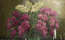 Antique oil painting still life with lilac flower