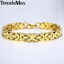 8mm Bracelet for Mens Boys Silver Gold Chain Stainless Steel Byzantine Link