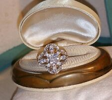 Ross Simons 18k yellow gold vermeil sterling silver cz princess cluster ring