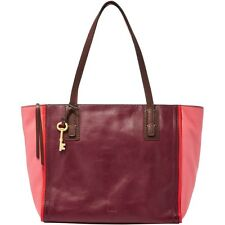 "Fossil ""EMMA"" Tote Red/Coral Multi Color Leather Handbag ZB6912995 New W/Tags"
