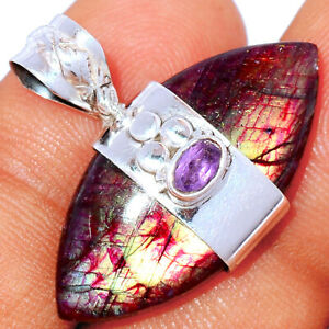 Red Flash Labradorite & Amethyst 925 Silver Pendant Jewelry BP85118 290K
