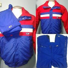CB Sports Vintage 80s Men Ski Snow Suit Skidoo Sled Snowboard Red White Blue M