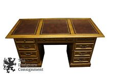 National Mt. Airy Brown Leather Top Executive Office Desk Oak Vintage Knee Hole