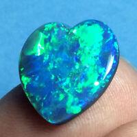7.65ct HEART Shaped Australian Lightning Ridge Black Opal DOUBLET Gem ~ VIDEO