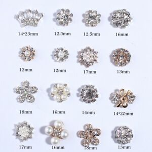 30PCS New Fashion Crown Rhinestone Buttons With Ivory Beads For Hair Accessories