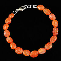 88.00 Cts Earth Mined Orange Carnelian Oval Shape Carved Beads Bracelet (RS)
