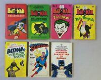 BATMAN, SUPERMAN, SIGNET LOT, SEVEN BOOKS, VS. PENGUIN JOKER PAPERBACK, PB, 1966
