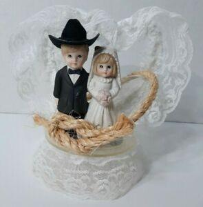 Cowboy Wedding Cake Topper Vintage Blond Blonde Lace LB MFG Ceramic 1990