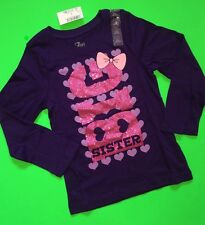 """*NEW! """"BIG SISTER"""" Girls Graphic Shirt 5-6 Small 14 XL ANNOUNCEMENT Gift LS Bow"""