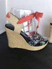 The Webster Miami At Target  Beige Blue Canvas Espadrille Wedges Size 7 1/2