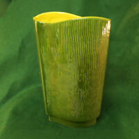 "Red Wing Art Pottery Textura Vase 12"" Tall  Green and Yellow"