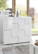 Credenza Moderna, Madia di Design, 2 ante Alta, Bianco Lucido