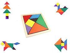 Color Wooden Tangram Brain Teaser Puzzle Educational Developmental Kids Toy ACXI
