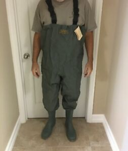 Cabela's Fishing Wader Overalls Size 12 Waterproof Felt Sole Boots w/ Box